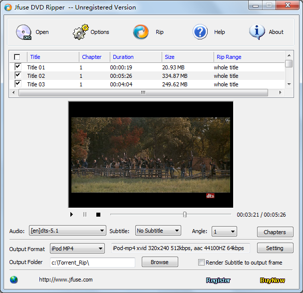 Click to view Jfuse DVD Ripper 1.01 screenshot