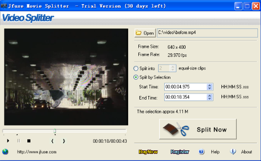 Click to view Jfuse Movie Splitter 5.21 screenshot
