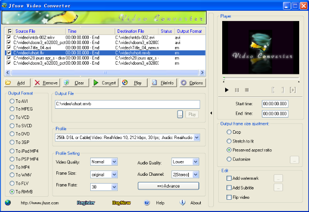 Click to view Jfuse Video Converter 1.05 screenshot
